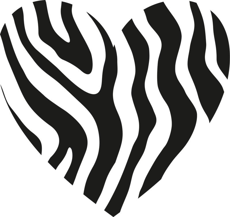 TenStickers. Zebra Print Heart T-Shirt. Zebra print t-shirt which features an image of a heart with zebra print inside. High quality materials used. Custom made.