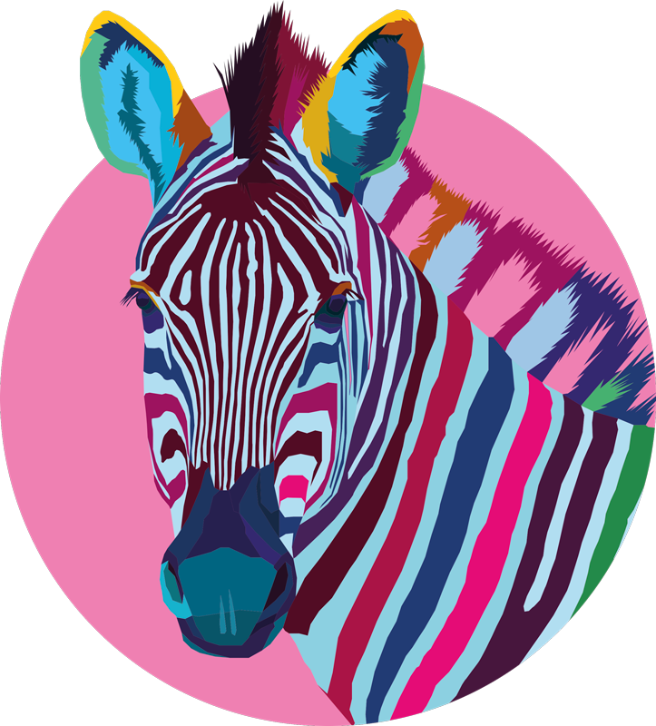 TenStickers. Zebra t-shirt Popart zebra. Kleurrijk zebra t-shirt met een realistische afbeelding van een zebra geschilderd in veel verschillende kleuren in een roze cirkel.