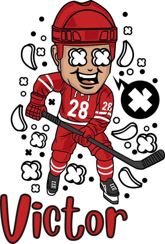 TenStickers. Funny Hockey Player with name Kids shirt. A nice outfit to stay at home and go out with the family to share your passion for hockey.Order now this tee shirt !  Home delivery !