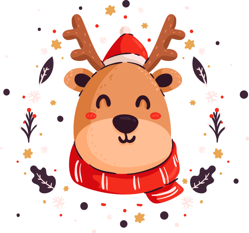 TenStickers. Natal cervos t-shirtsnatal. Desfrute da felicidade e alegria do natal com este produtosimples e surpreendente de t-shirt de natal para senhoras. Entrega ao domicílio