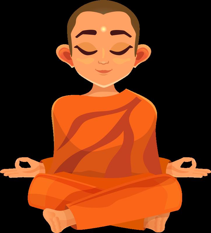 TenStickers. T-shirt de méditation. T-shirt zen qui présente une image d'un moine, méditant paisiblement. +10 000 clients satisfaits. Matériaux de haute qualité.