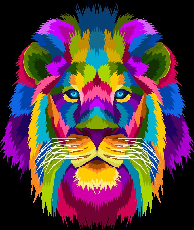 TenStickers. 狮子和雌狮情侣装衬衫. 狮子t恤衫套装,以美丽的几何色绘有狮子和母狮的图像。提供各种尺寸。
