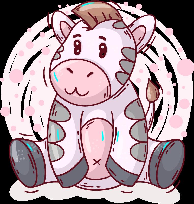TenStickers. T-shirt baby Zebra tekening. Baby t-shirt met een ontwerp van een mollige zebrazitting met een tedere uitstraling en een achtergrond van roze vlekken, perfect voor uw dochter.