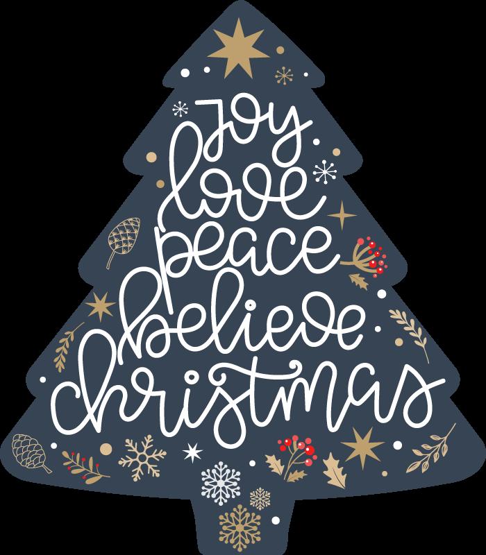 TenVinilo. Camiseta frase árbol felicidad navideña. ¡Camiseta navideña de aspecto fresco con árbol de navidad y frases positivas de navidad! Compra este diseño ahora! ¡Entrega a domicilio!