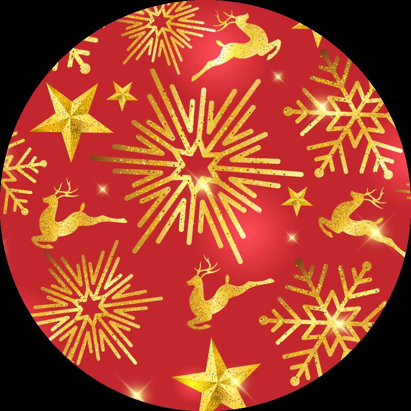 TenStickers. T-shirt Kerstmis Elegante rendieren op rode achtergrond. Dit coole en unieke rendier t-shirt product zal uw kamer zeker zoveel meer licht brengen! Wereldwijde levering is beschikbaar voor dit product.
