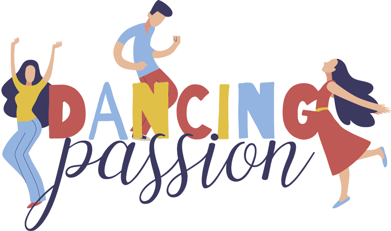 "TenStickers. dancing passion t-shirt. T-shirt with the design of three people dancing with the text ""Dancing Passion"" in many colors, ideal for you to wear a casual outfit full of joy."