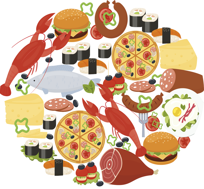TenStickers. food icons in circle t-shirt. Tenstickers is the place to print your personalized tshirt . For the custom t-shirt and the textile we chose to use high quality clothing.