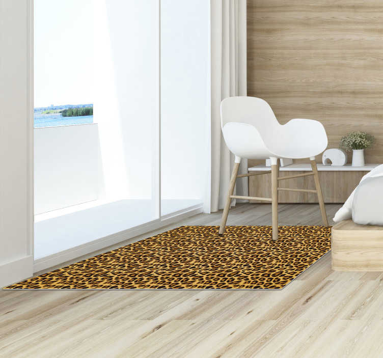 TenStickers. Leopard skin animal print vinyl carpet. Fantastic vinyl animal print carpet with leopard texture to decorate your room or living room in an original and exclusive way !