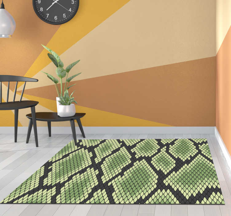TenStickers. Green snakeskin animal print vinyl carpet. Great vinyl snake print carpet for you to decorate your house in an original and exclusive way! Discounts available. Buy now!