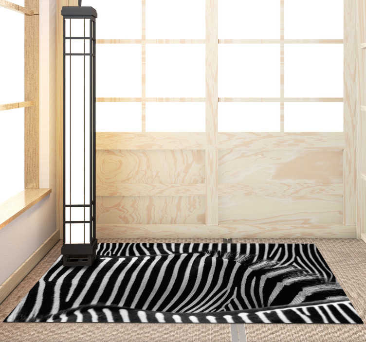 TenStickers. Zebra skin animal print vinyl carpet. Original zebra print vinyl carpet perfect to place in your home and enjoy a unique and exclusive decoration! +10,000 satisfied customers.