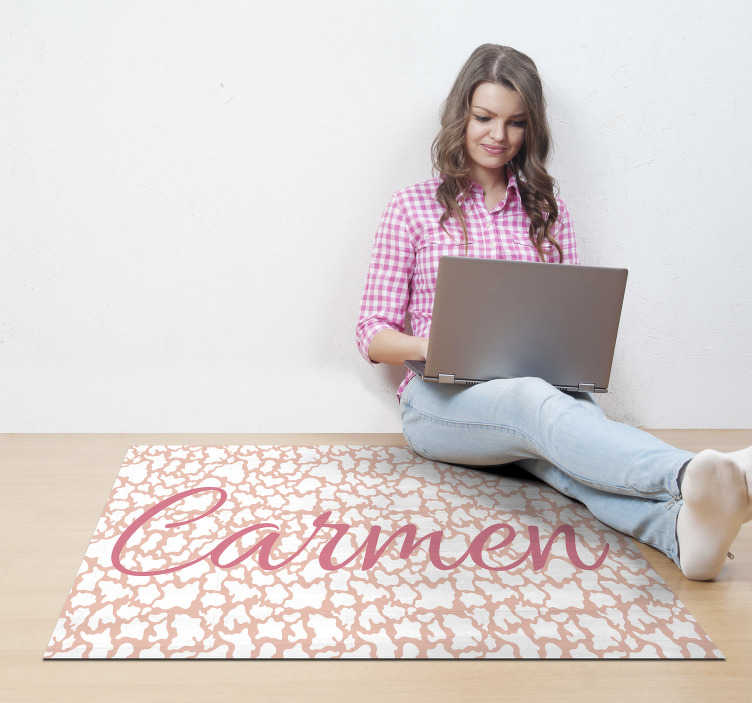 TenStickers. Pink personnalised animal print vinyl carpet. Fantastic vinyl cowhide rug in pink tones that you can customize with your own name or the name of the person you want!!