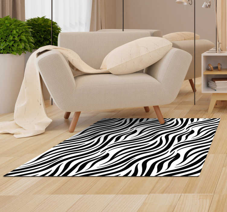 TenStickers. Zebra stripe animal print vinyl carpet. Magnificent zebra animal print vinyl carpet to decorate your living room, bedroom or in any room of your house! +10,000 satisfied customers.