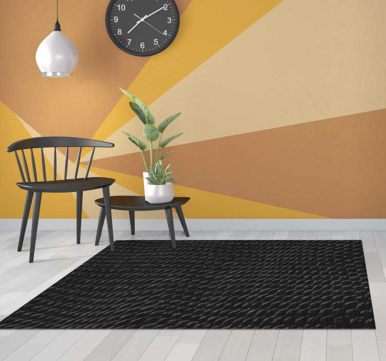 TenStickers. Black snake skin animal print vinyl carpet. Use this stunning black snake skin animal print vinyl rug for bringing in your house a fantastic element capable of improving a lot your rooms!