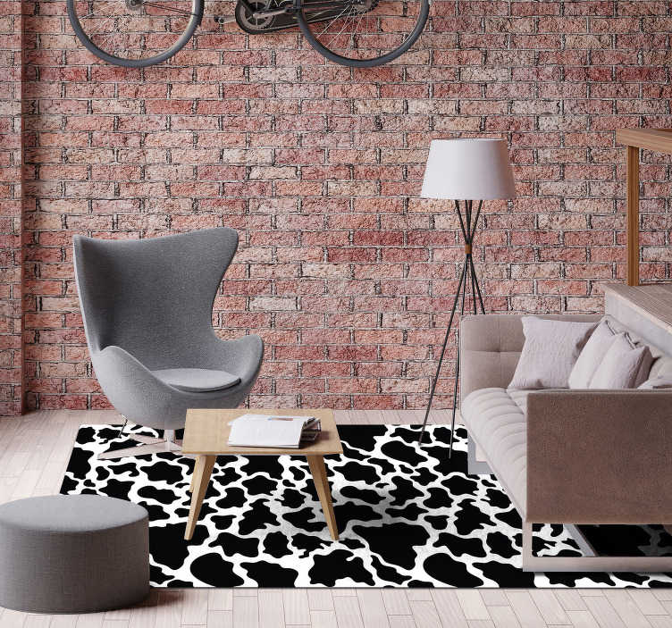 TenStickers. Rectangular cow animal print vinyl carpet. This gorgeous rectangular cow animal print vinyl rug is what you need for finally having a house which deserves to be called your house!