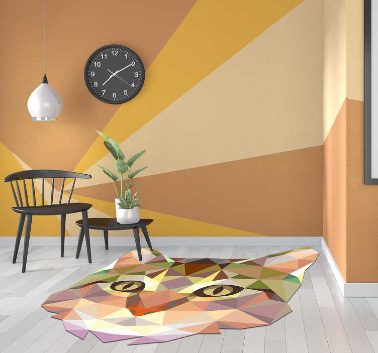 TenStickers. geometric cat shaped vinyl carpet. This amazing geometric cat shaped vinyl rug is the perfect choice for adding to your house something simply incredible! +10,000 satisfied customers.