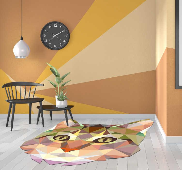 TenStickers. Tappeto in vinile a forma di gatto geometrico. Questo fantastico tappeto geometrico in vinile a forma di gatto è la scelta perfetta per aggiungere alla tua casa qualcosa di semplicemente incredibile! +10. 000 clienti soddisfatti.