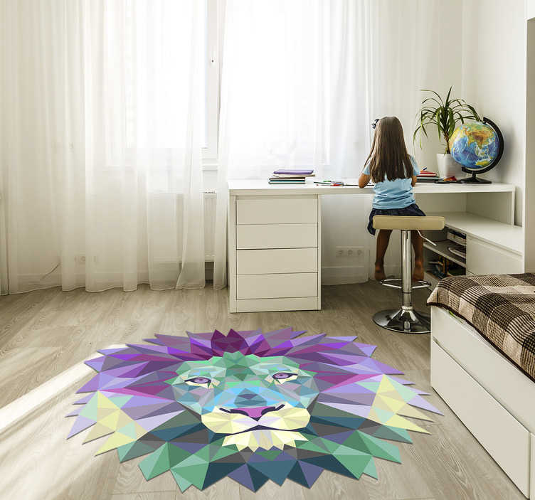 TenStickers. lion shaped geometric animal vinyl carpet. Use this spectacular lion shaped geometric vinyl rug to get in your house something special capable of improving every room!