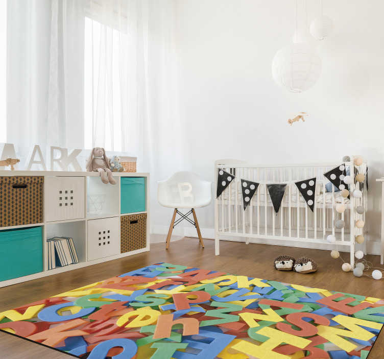 TenStickers. Messy alphabet alphabet vinyl rug. Incredible vinyl alphabet carpet for children with anexclusive style of decoration for your child's room or wherever you think it will fit best!