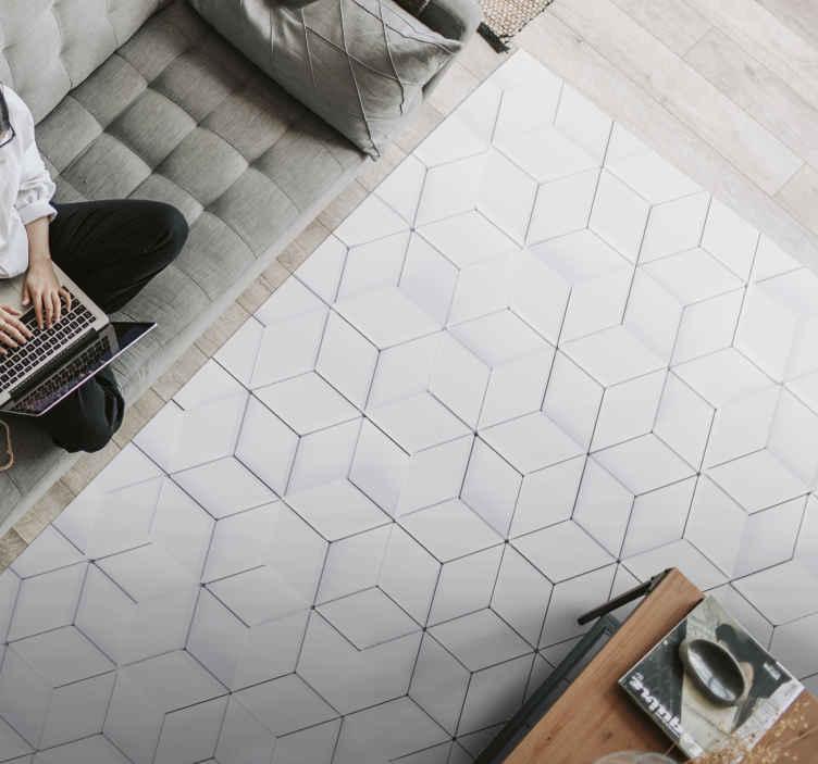 TenVinilo. Alfombra de vinilo geométrica minimalista. ¡Alfombra vinílica rectangular con formas geométricas para decorar el piso de su casa y darle un estilo exclusivo pero exótico! Material extremadamente duradero.