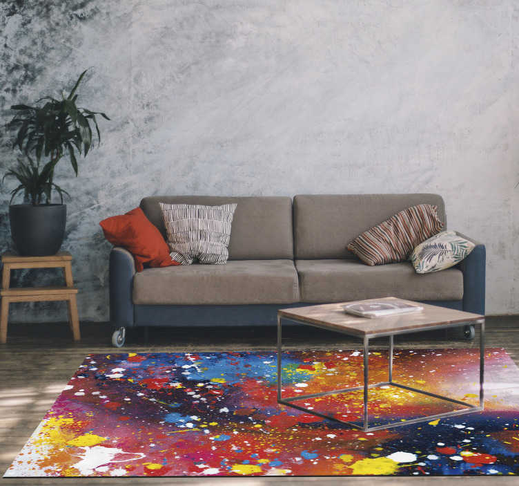 TenStickers. Vinyl rug Modern Abstract Painting. Look at those colourful designs, how amazing would it be to have them in your room! It cannot be easier, order this modern vinyl carpet now!