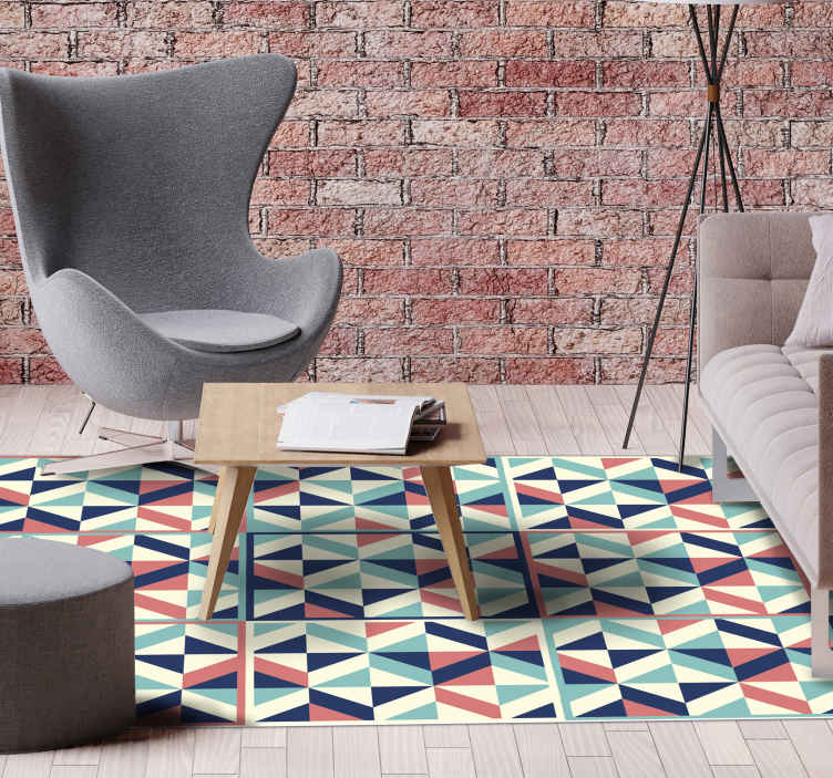 TenStickers. Multicolour rhomboid geometric vinyl carpet. Fantastic vinyl tile carpet with an exclusive design that will leave you loving whatever room you put it in! Top quality product!