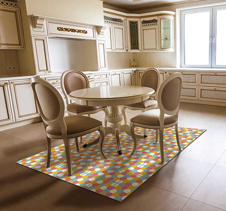 TenStickers. 彩色六边形几何乙烯基地毯. 这款令人惊叹的彩色六边形几何乙烯基地毯可以作为改善您所有房屋装饰的最终解决方案!