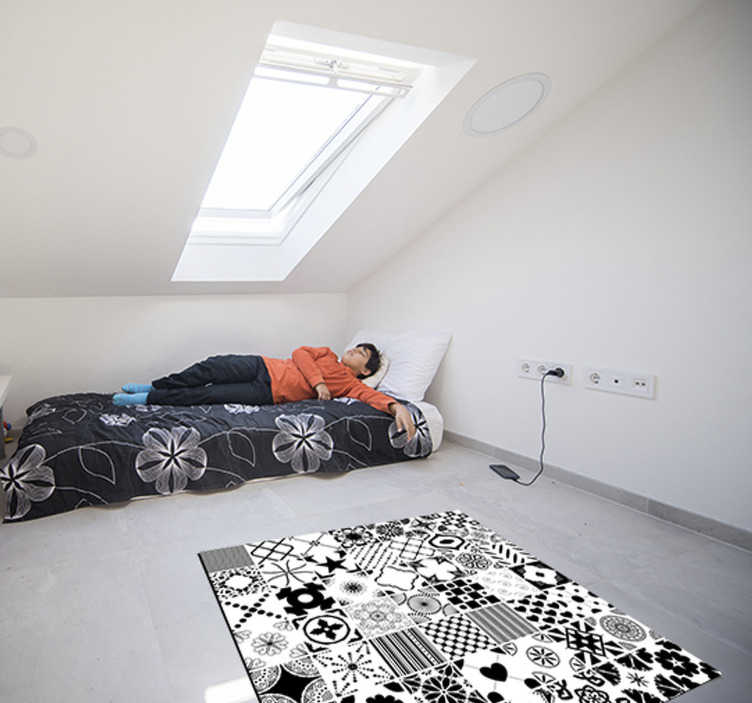 TenStickers. black and white tiles bedroom vinyl rug. Admire this fabulous black and white tiles bedroom vinyl rug and just imagine how much happy can you make your kid! Sign up for 10% off.