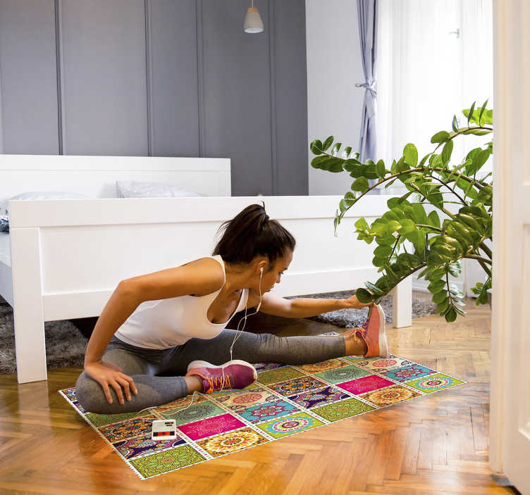 TenStickers. colorful moroccan tiles bedroom vinyl rug. Thanks to this colorful moroccan tiles vinyl bedroom rug  you have found a new and great way for improving a lot every room of your house!