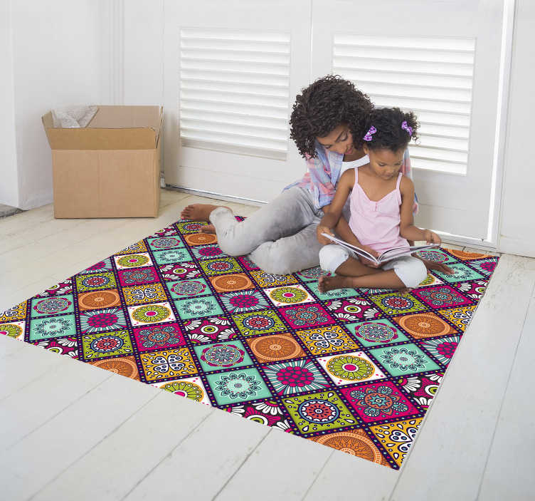 TenStickers. colorful floral tiles vinyl carpet. This magnificent colorful floral tiles vinyl rug is without any doubts the ultimate choice for improving a lot your house decor!