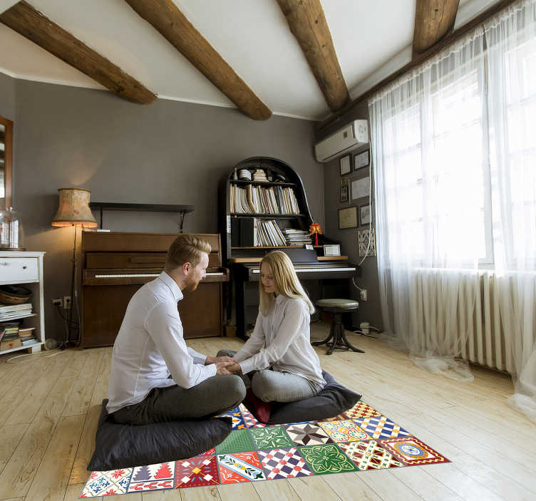 TenStickers. squared colorful vinyl carpet. The original squared colorful vinyl rug is a really beautiful way to decorate your house in an incredible original manner!