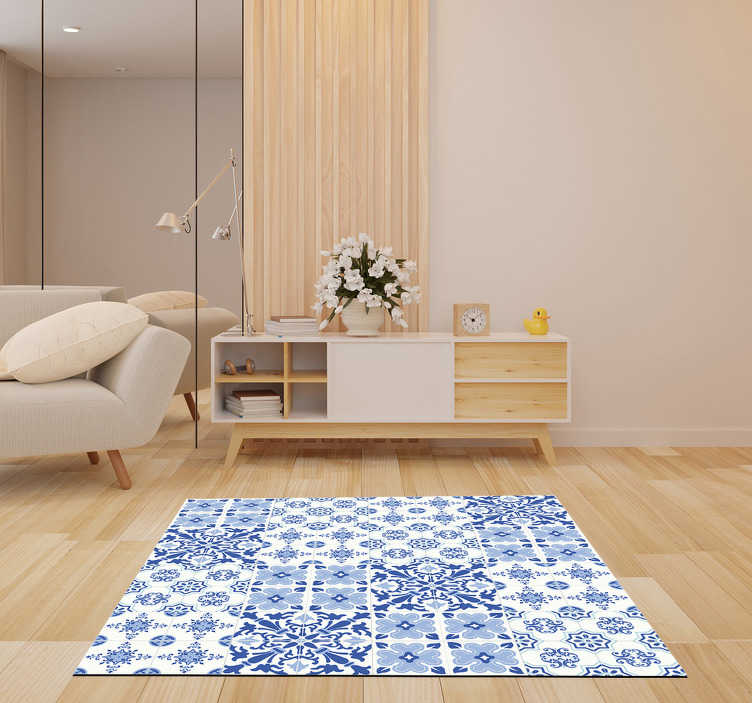 TenStickers. portuguese tiles living room rug. This stunning portuguese tiles vinyl living room rug is the ultimate choice for a great improvement in all your house decor!
