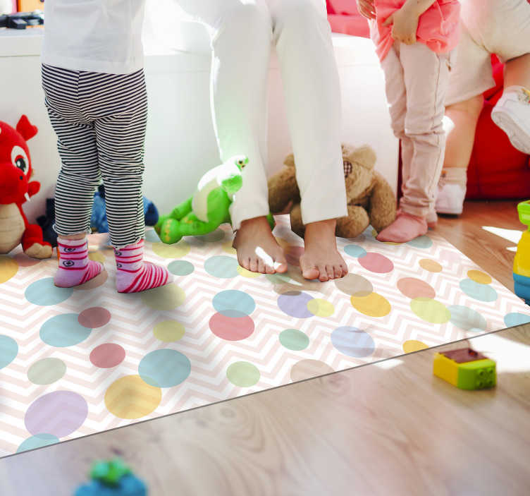 TenStickers. polka dots pastel shades babies vinyl carpet. This fantastic polka dots pastel shades babies vinyl rug is what you needs for donating to your kids a very special decoration!