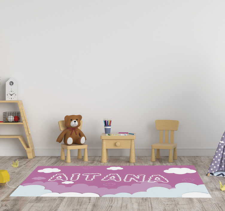 TenStickers. personalizable pink sky babies vinyl rug. Thanks to this  personalizable pink sky babies vinyl rug you will be able to improve greatly your kid's bedroom and to decorate it incredibly!