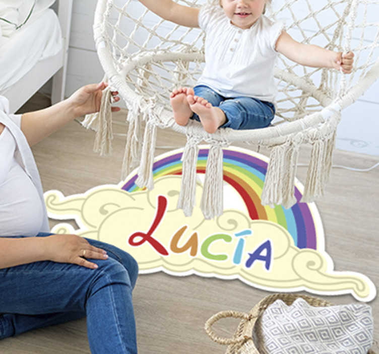 TenStickers. customizable rainbow kids vinyl carpet. Admire the beauty of this customizable rainbow kids vinyl rug and imagine how much can you improve the aspect of your kid's room with no efforts!