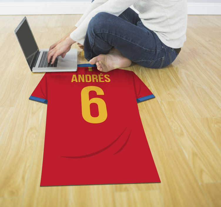 TenStickers. Personnalised football shirt  een vinyl carpet. Vinyl carpet with the name of the Spanish national team on it, where you can put your name! +10,000 satisfied customers.