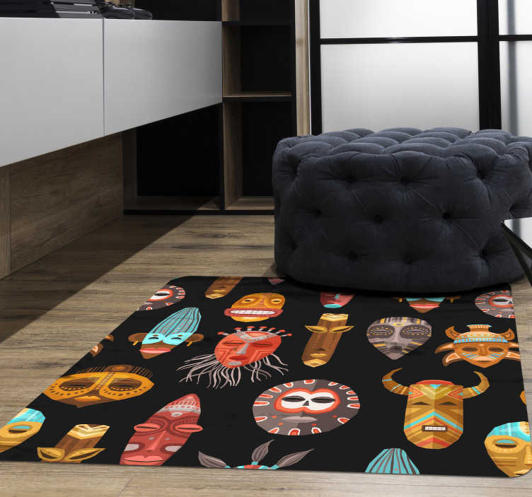 TenStickers. Tribal masks ethnic vinyl carpet. Great ethnic vinyl carpet with a square shape with which you can exclusively decorate your home or business! Discounts available.