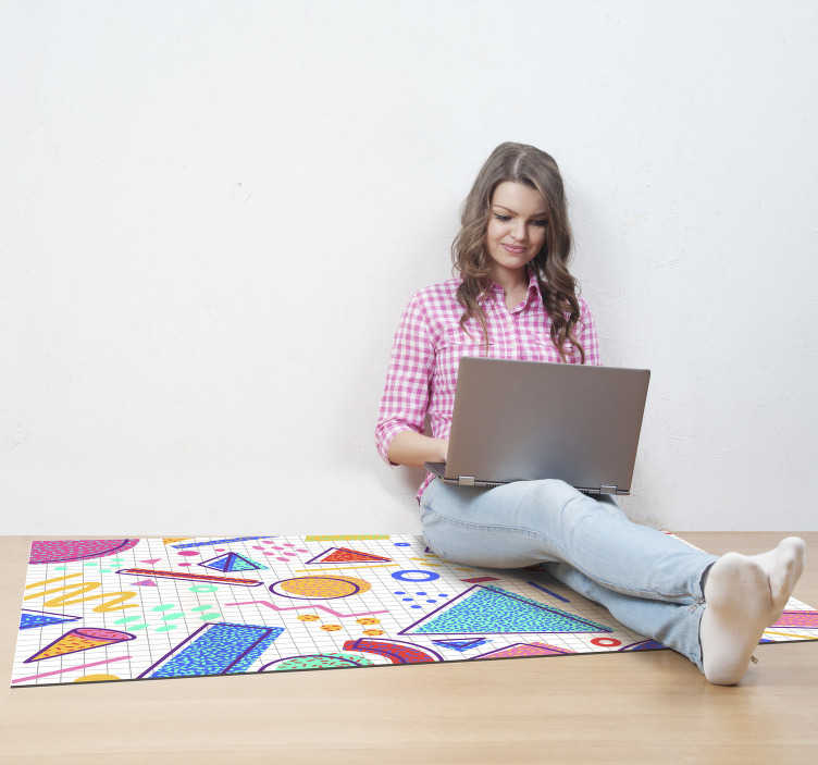 TenStickers. Retro memphis style geometric vinyl carpet. As one of the latest designs to be produced by our team, we believe that this geometric vinyl rug is one of the best colorful designs on the market!