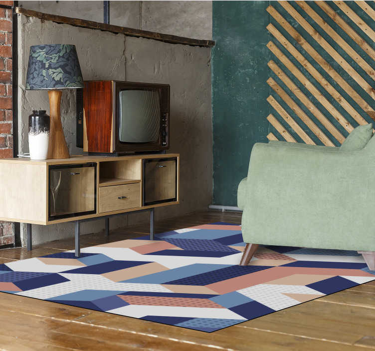 TenStickers. Modern 3d geometric vinyl carpet. Incredible geometric vinyl carpet with rectangular shape to decorate your home or business in a different and original way!