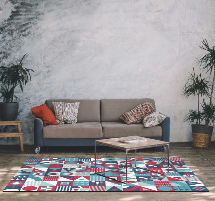 TenStickers. Modern geometric vinyl carpet. A great rectangular geometric vinyl carpet with which you can decorate the room of your house that you want with a simple gesture!
