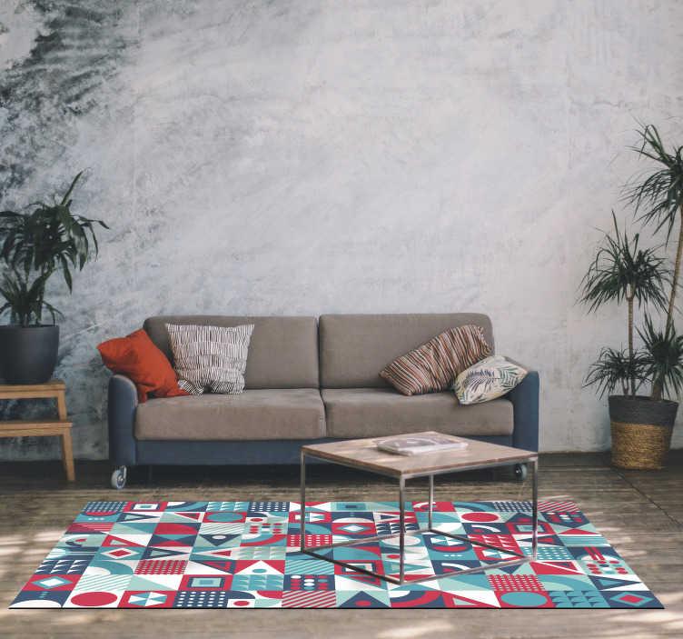 TenStickers. 现代几何乙烯基地毯. 伟大的矩形几何乙烯基地毯,您可以用简单的手势即可装饰您想要的房子的房间!
