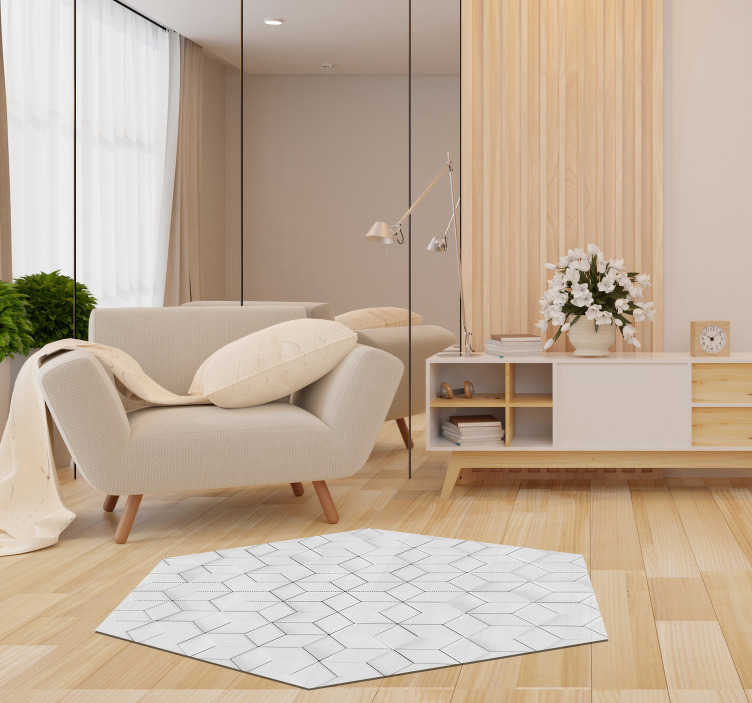 TenStickers. Vinyl rug geometric relief effect. With this geometric vinyl carpet you can relief a little bit because you just found the perfect design for your living room. High quality!