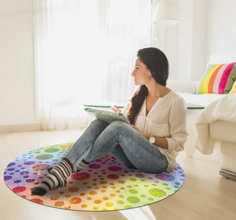 TenStickers. Vinyl Rug The festival of Holi circles. Geometric vinyl carpet will be a perfect decoration for any room in your house. Its colourful design reminds of The Festival of Holi.