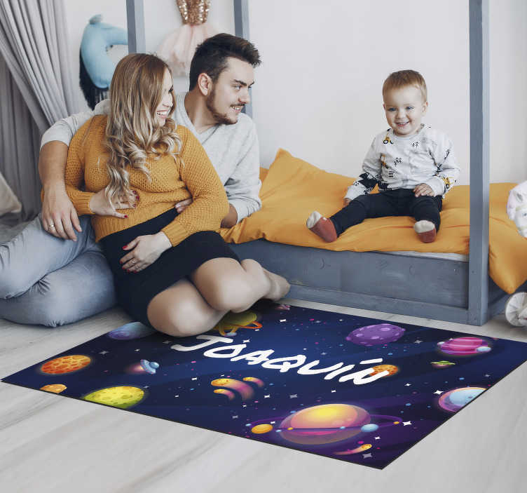 TenStickers. Universe and planets personalised vinyl rug. Vinyl children's carpet with a name to decorate your child's room with a design that will feel totally unique as it bears his or her name!