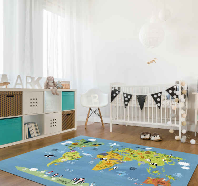 TenStickers. 动物世界地图孩子乙烯基地毯. 孩子们的房间,乙烯基地毯装饰孩子的房间,现在您的孩子可以享受这个宏伟的设计!去除后残留物为零。