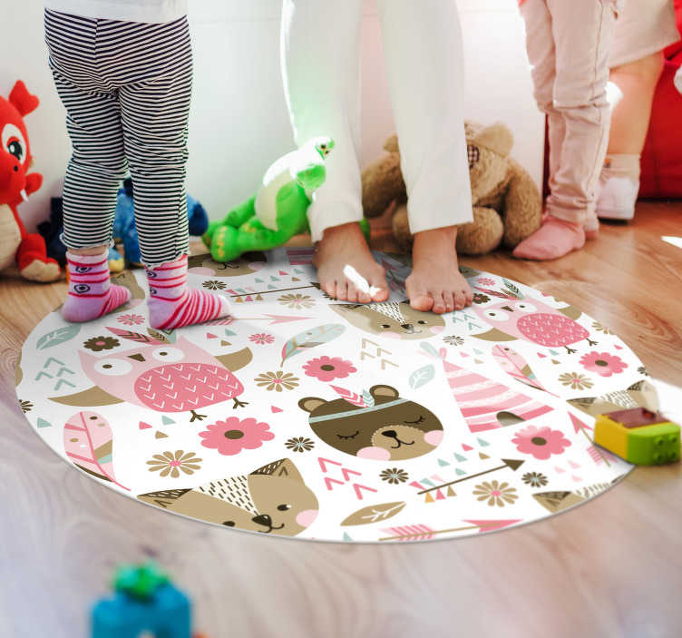 TenStickers. Vinyl rug for kids bears and owls. Kids room vinyl rug is a perfect solution for those spaces because it is so practical It is anti-slip, can be made at your measures.
