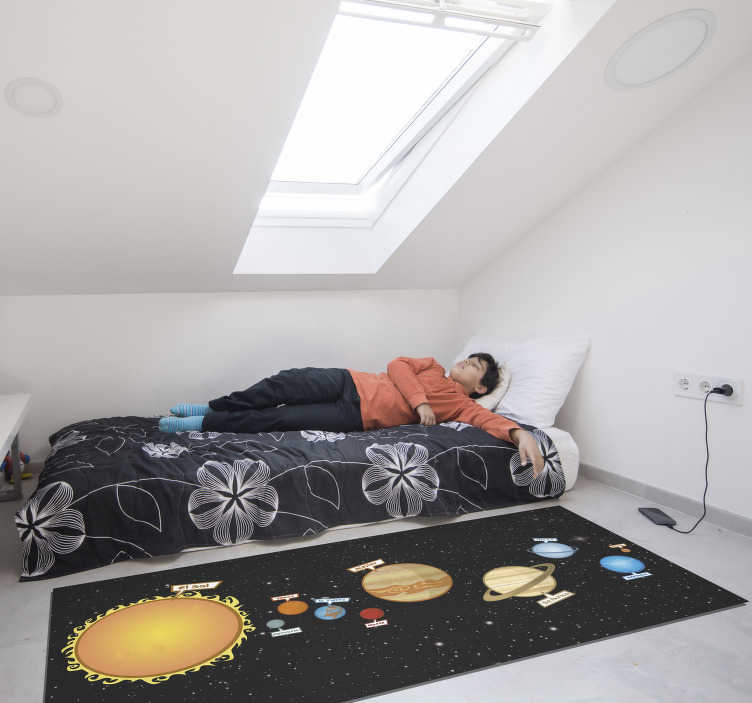 TenStickers. Vinyl rug solar system kids. This amazing kids vinyl rug is presenting the design of the solar system with all of the planets in very vivid colours. High quality of the material.