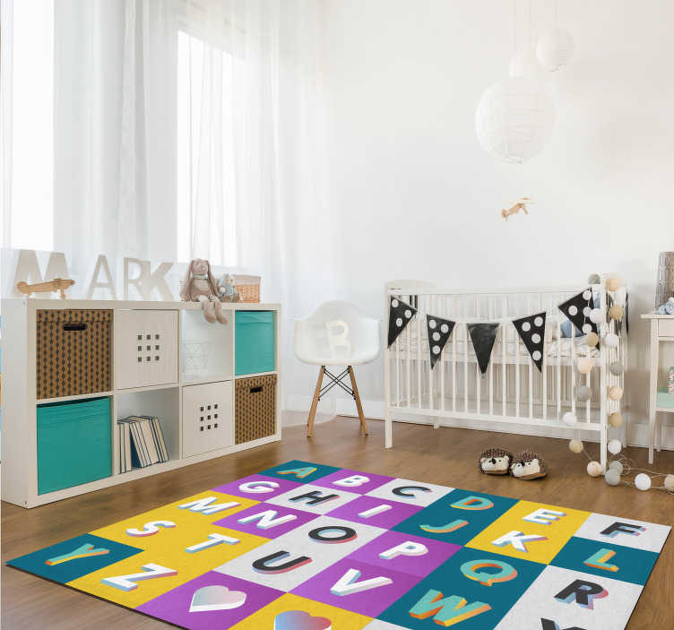 TenStickers. Modern alphabet vinyl rug. Great children's alphabet vinyl carpet to decorate your children's room or the space you prefer! Choose your size and enjoy!