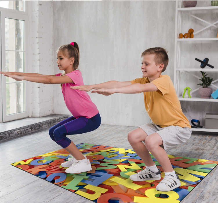 TenStickers. colorful  alphabet vinyl rug. Thanks to this incredible colorful vinyl alphabet rug you will be able to make a great gift to your son in a really simple and cheap way