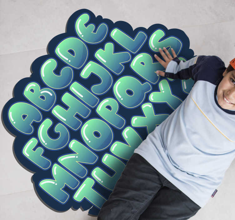 TenVinilo. Alfombra de vinilo nube abecedario. Alfombra vinílica abecedario infantil con un diseño exclusivo en el cual las letras del abecedario están envueltos en una nube en tono turquesa.