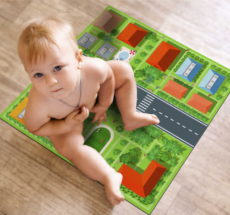 TenStickers. Tappeto tappeto stradale. Questo magnifico tappeto in vinile per bambini su strada è perfetto per rendere davvero incredibili le stanze dei tuoi bambini! Scegli la taglia giusta per te!
